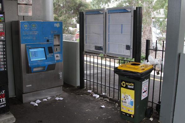 Discarded myki receipts litter Yarraman station