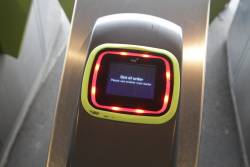 Vix Myki reader displaying an 'Out of service' message