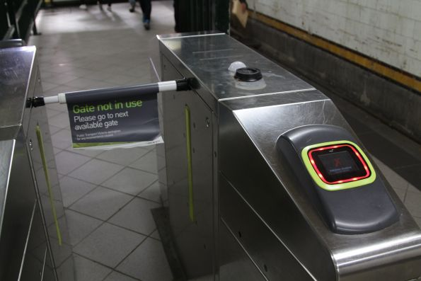 Defective Myki gate in the Elizabeth Street subway at Flinders Street Station