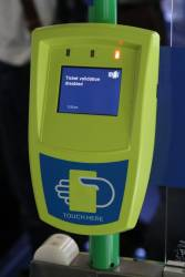 'Ticket validation disabled' message display on a myki reader onboard a route 30 tram