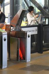 Repairing a defective myki gate at Sunshine station