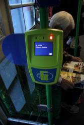 'In service' message displayed on a Myki reader onboard a tram
