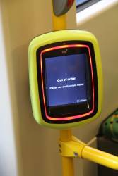 'Out of order' message displayed on a Vix myki reader onboard an E class tram