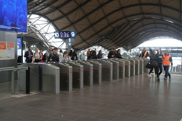 All the ticket gates at the Collins Street end of Southern Cross Station in exit only mode