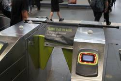 'Gate not in use' banner at Southern Cross Station