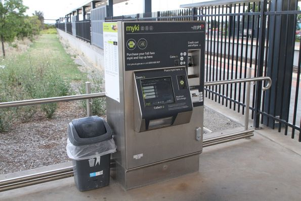 Station staff have added a rubbish bin beside the Myki machine at Tarneit