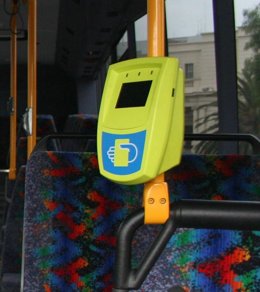 Myki reader in McHarrys bus in Geelong