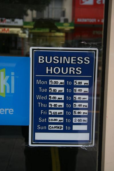 Opening hours for the Geelong myki store