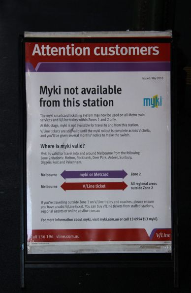 'Myki not available from this station' poster at Geelong station