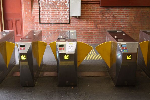 Ticket barriers at Glenferrie platform 3 now all with Myki 'frankenbarrier' kits installed