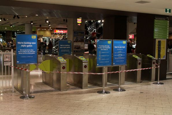 Set of Myki barriers waiting final commissioning at the Swanston Street end of Melbourne Central
