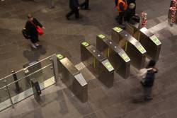 Myki barriers for the country platforms at Southern Cross Station, including the GAC (Gate Attendant Control)