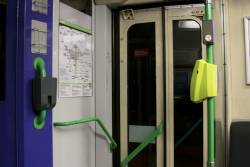 Brochure holders still in place behind the drivers cab of Z3 class trams