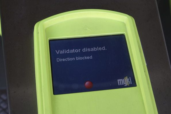 'Validator disabled / Direction blocked' message on a Myki ticket barrier