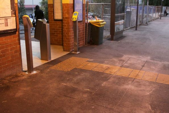 Cuts in the platform at Newmarket, presumably for additional Myki readers