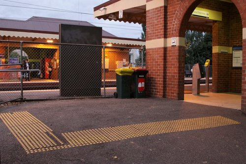 Entrance to platform 2 at Newmarket: if the advertisement wasn't there you could make a second exit...