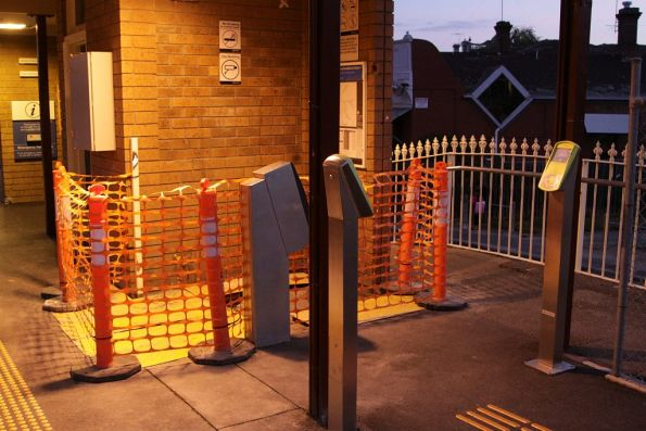 Gap where the Metcard ticket machine used to be at Ascot Vale platform 2