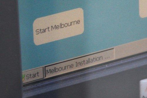Bottom left-hand corner of a Tram Driver Console screen, running Windows CE