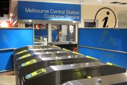 New bank of five Myki-only ticket barriers awaiting commissioning at Melbourne Central