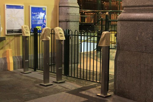 Four FPDs installed beside the Elizabeth Street entry for overflow traffic at Flinders Street Station