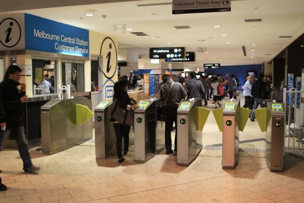 Bank of new Myki-only ticket barriers in use at Melbourne Central