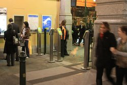 Only 2 of the 4 overflow FPDs in use during evening peak at the Elizabeth Street end of Flinders Street Station