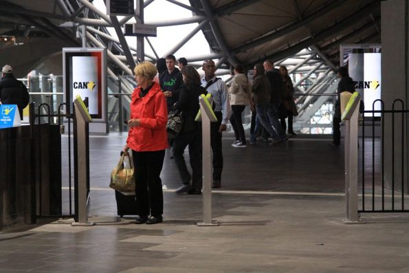 Passenger confused by the Myki-only overflow gate at Southern Cross
