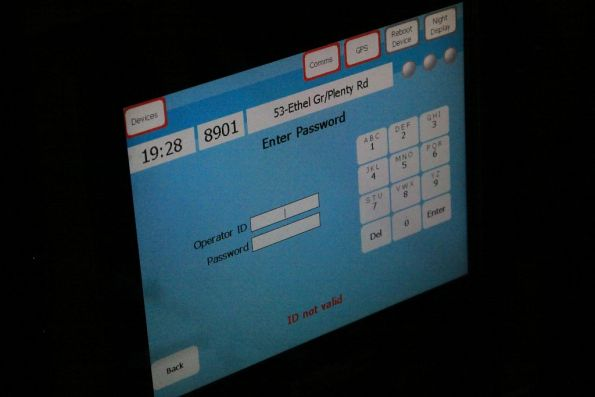 Myki login screen on the Tram Driver Console at the other end