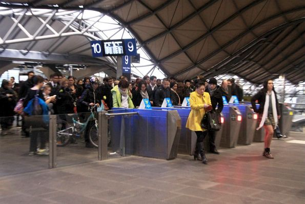 The lines aren't any shorter at the other Collins Street exit at Southern Cross