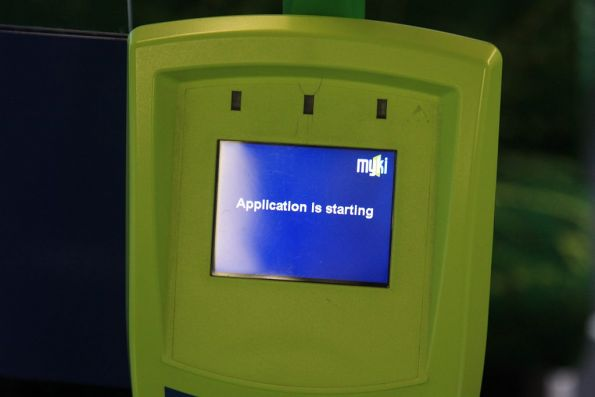 'Application is starting' message on a Myki FPD aboard a tram