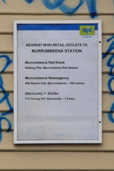 'Nearest Myki outlets' poster at Murrumbeena station