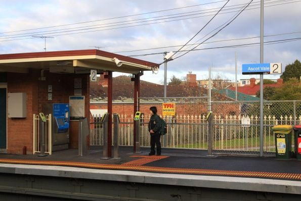 Three new FPDs installed at Ascot Vale, but the temporary fencing blocking access is yet to be removed