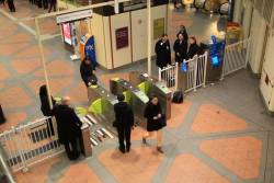 First day of the new Myki gates in use at Flagstaff station