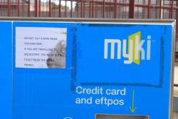 'Do not buy a Myki from this machine if you are travelling to Melbourne' sign on the CVM in Geelong