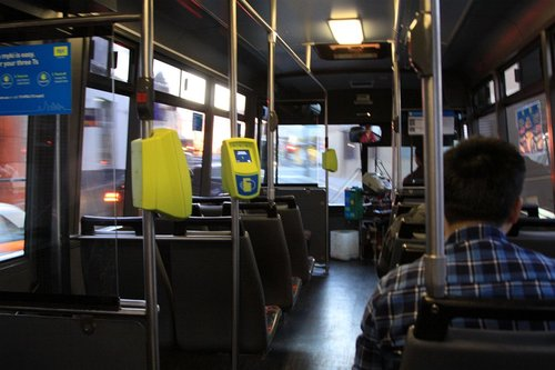 High floor Moonee Valley Coaches bus, with Myki readers