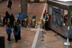 Booking office at Flagstaff station closed for the removal of Metcard equipment