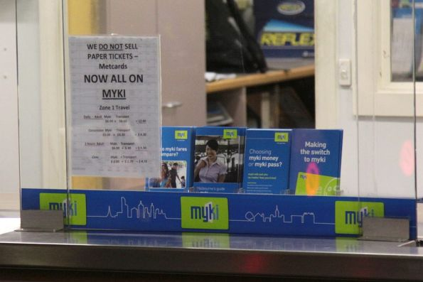 Ad-hoc Myki related information at the South Yarra station booking office