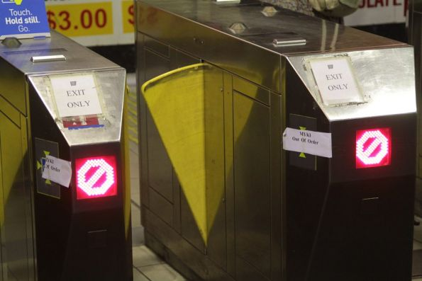 Pair of frankenbarriers with faulty Myki readers at South Yarra