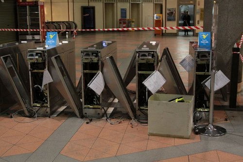 Metcard barriers at Flagstaff station ready to be removed
