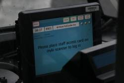 'Place staff access card on Myki scanner to log in' message on a Tram Driver Console