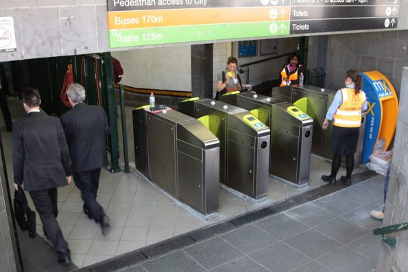 Bank of three new Myki barriers in use at the Southbank end of the subway at Flinders Street Station