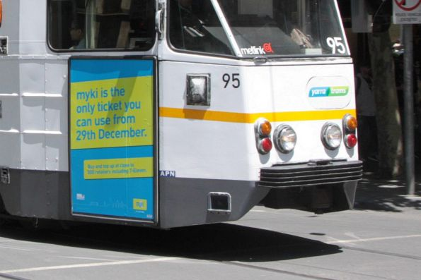 'Myki is the only ticket you can use from 29th December' poster on tram Z1.95