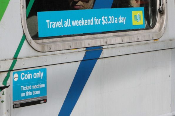 1st round of Myki tram stickers - 'Travel all weekend for $3.30 a day'