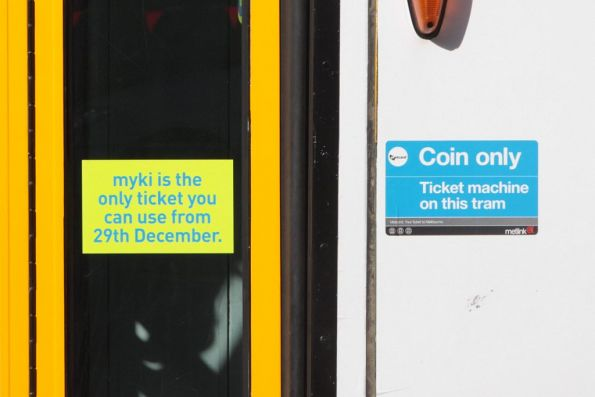 2nd round of Myki tram stickers - 'Myki is the only ticket you can use from 29th December'