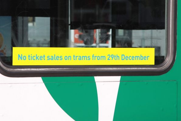 No ticket sales on trams from 29th December (2012 that is!)