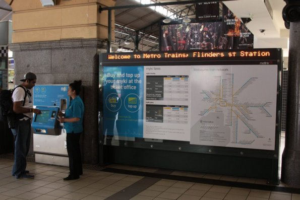 Ticketing information board at Flinders Street Station finally updated to remove irrelevant Metcard information