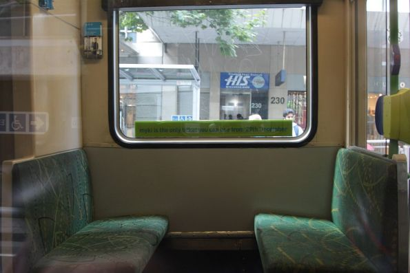 Seats refitted inside B2.2012, previously a Myki tram CVM was located here for testing purposes