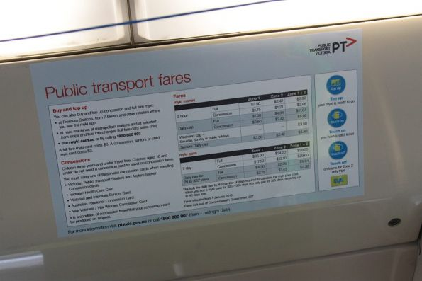 New ticketing information stickers onboard trams