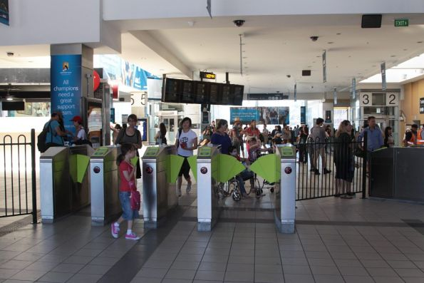 Myki gates at Flinders Street Station, a new set facing Federation Square