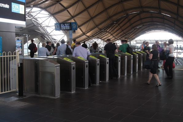 Expanded gate array at the Collins Street entrance to Southern Cross